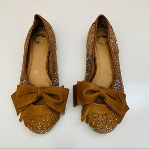 Anthropologie Lucky Penny Fringe Bow Flats